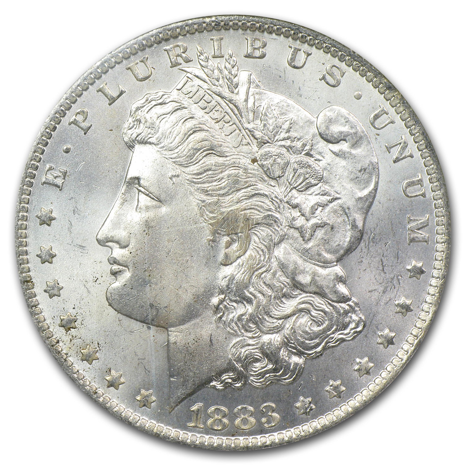 1883-O Morgan Dollar - MS-65* Star NGC - Blue and Gold Reverse