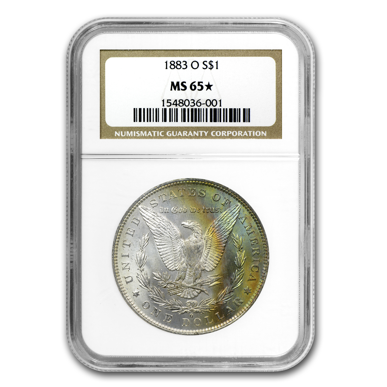 1883-O Morgan Dollar MS-65* Star NGC (Blue & Gold Rev)