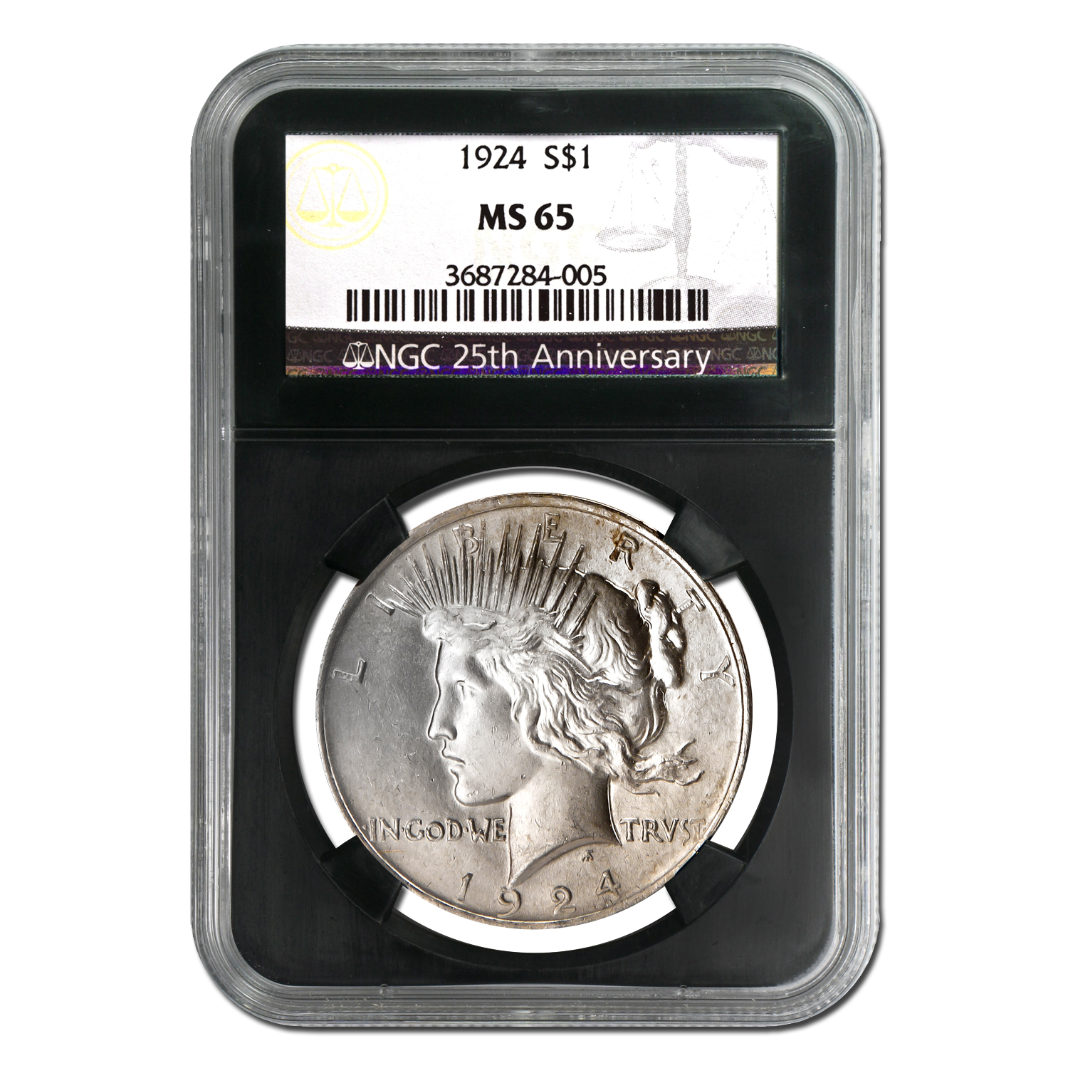 1922-1925 Peace Silver Dollar Set 4 Coins MS-65 NGC Black Holders