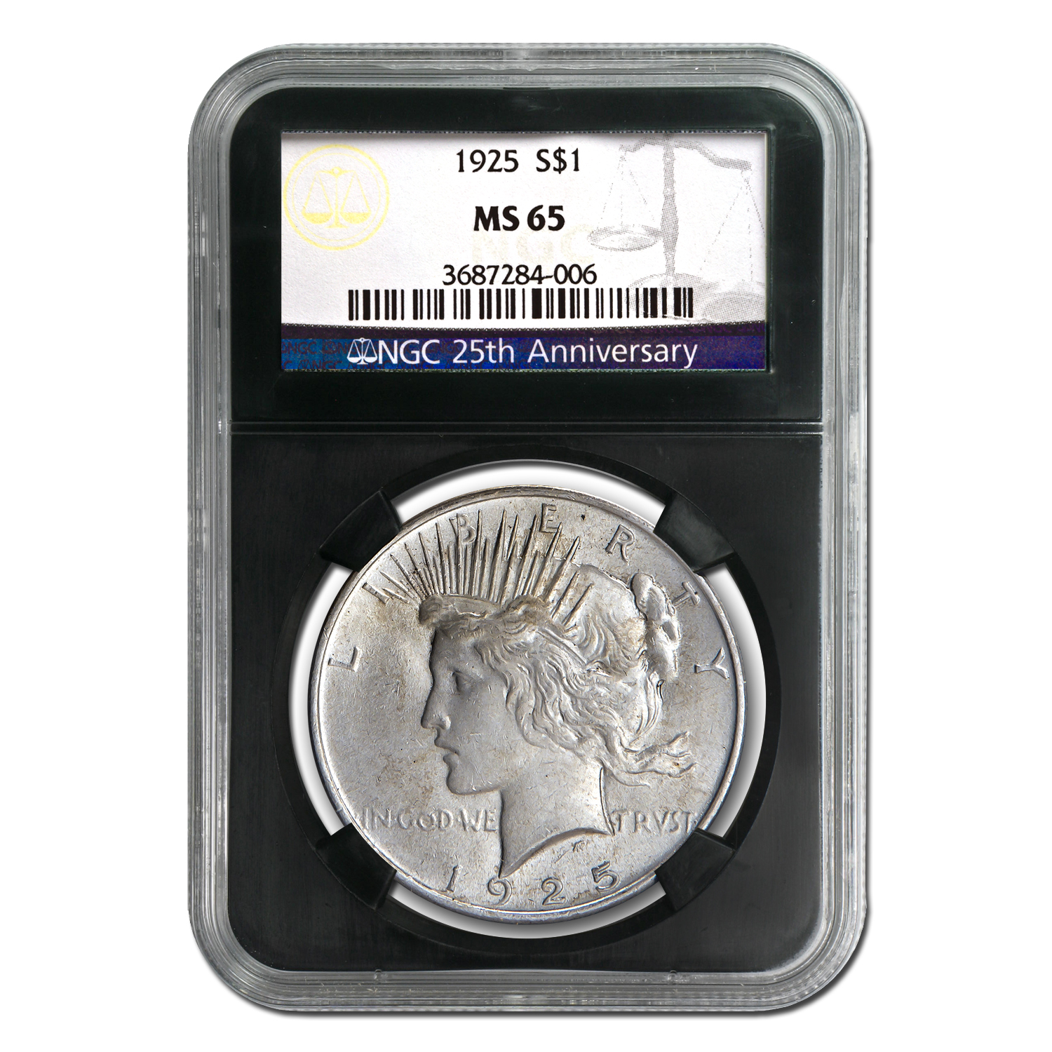 1922-1925 4-Coin Peace Dollar Set MS-65 NGC (25th Anniv)
