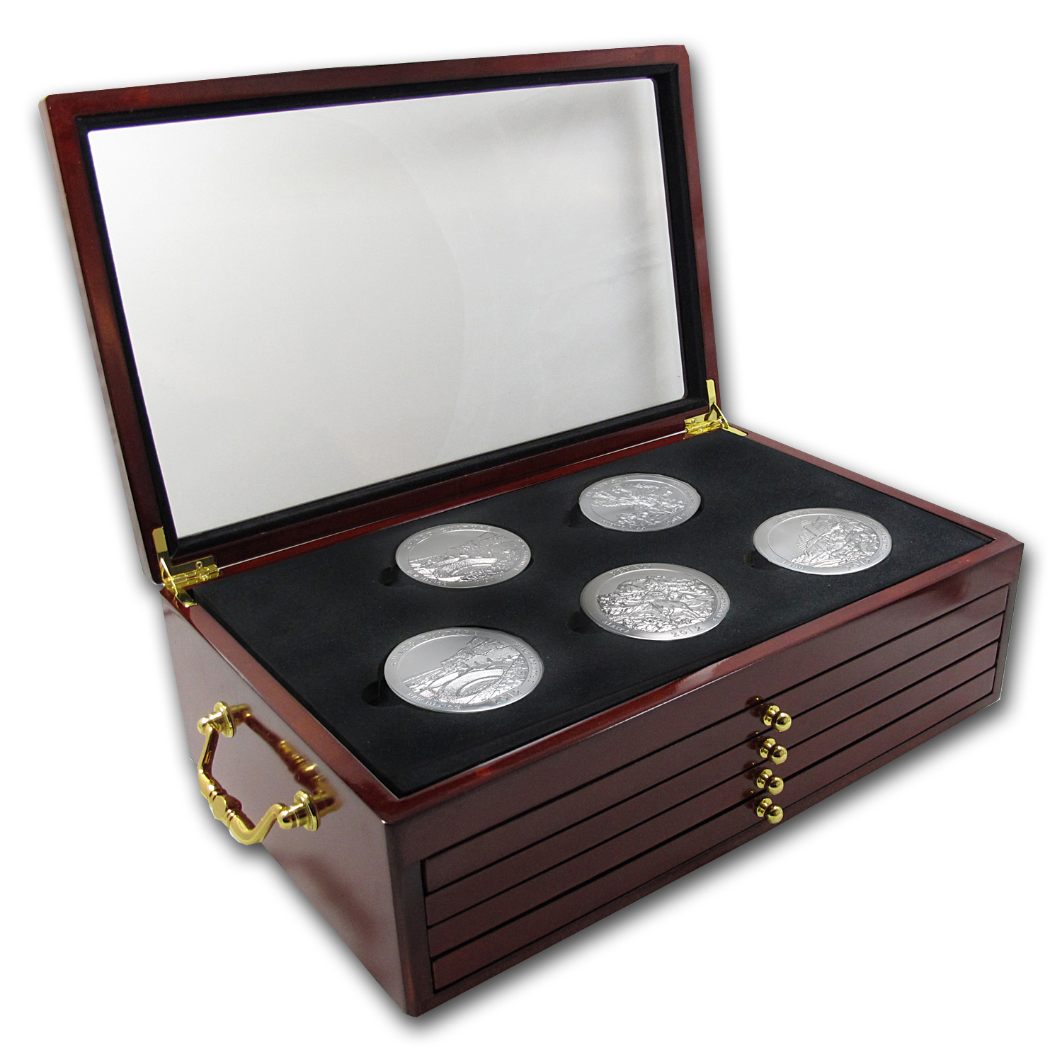 2010 - 2012 5 oz Silver ATB 15-Coin Set in Elegant Display Box