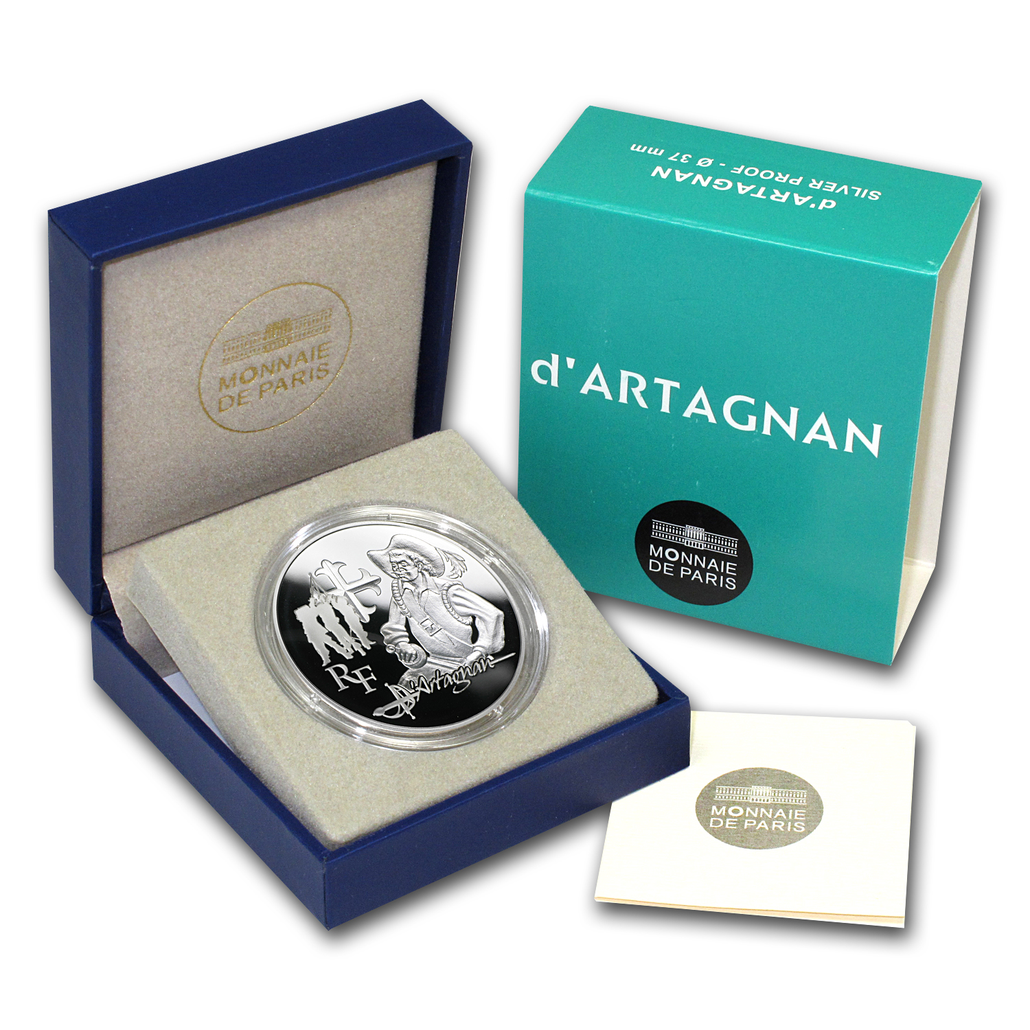 2012 €10 Silver Proof Heroes of French Literature -d'Artagnan