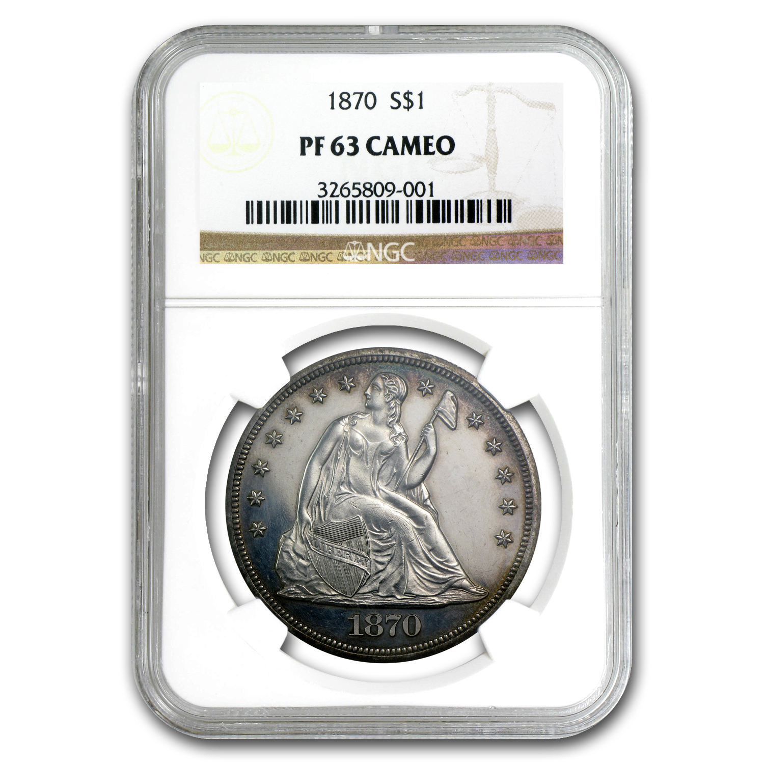 1870 Liberty Seated Dollar Proof-63 Cameo NGC