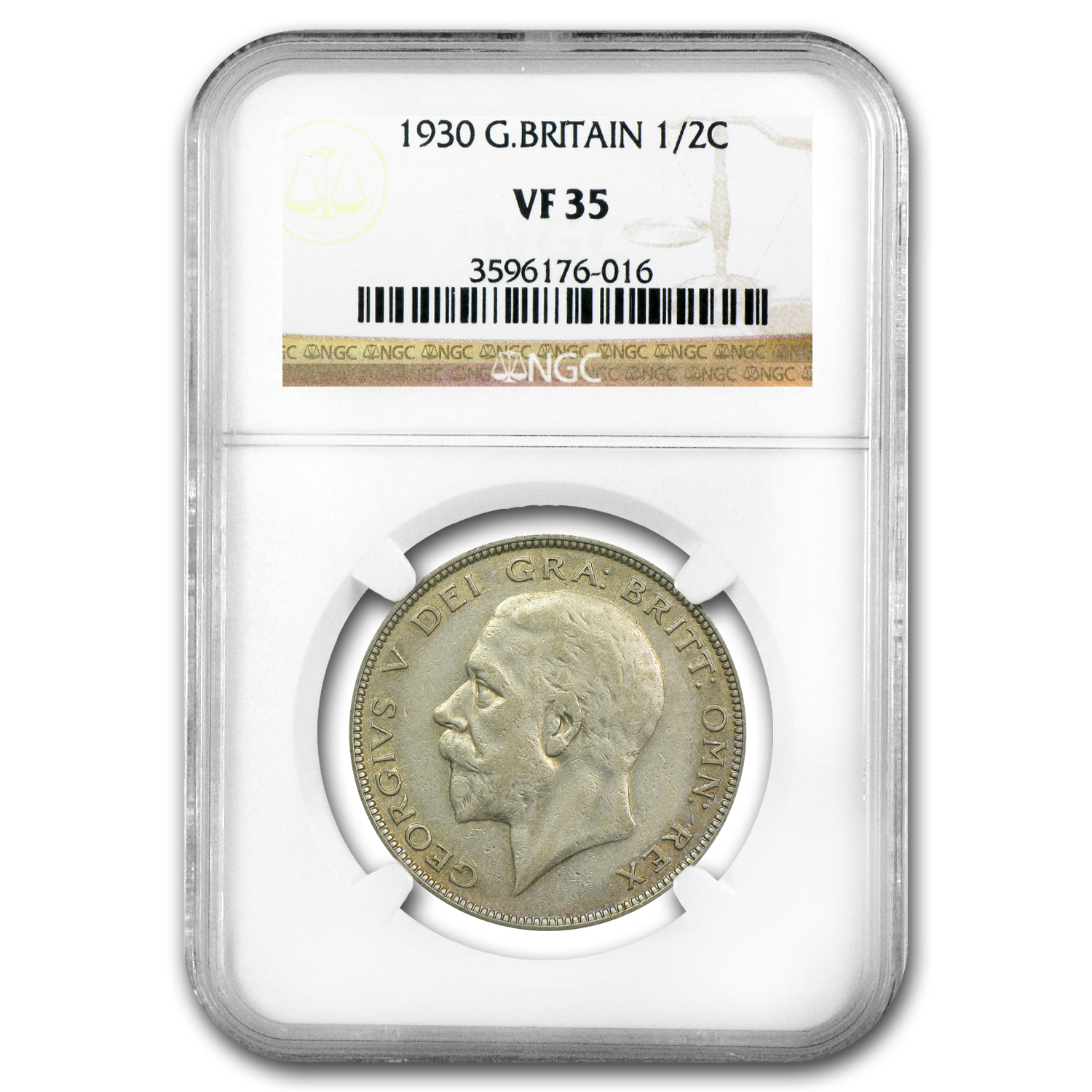 Great Britain 1930 1/2 Crown Silver George V NGC VF-35