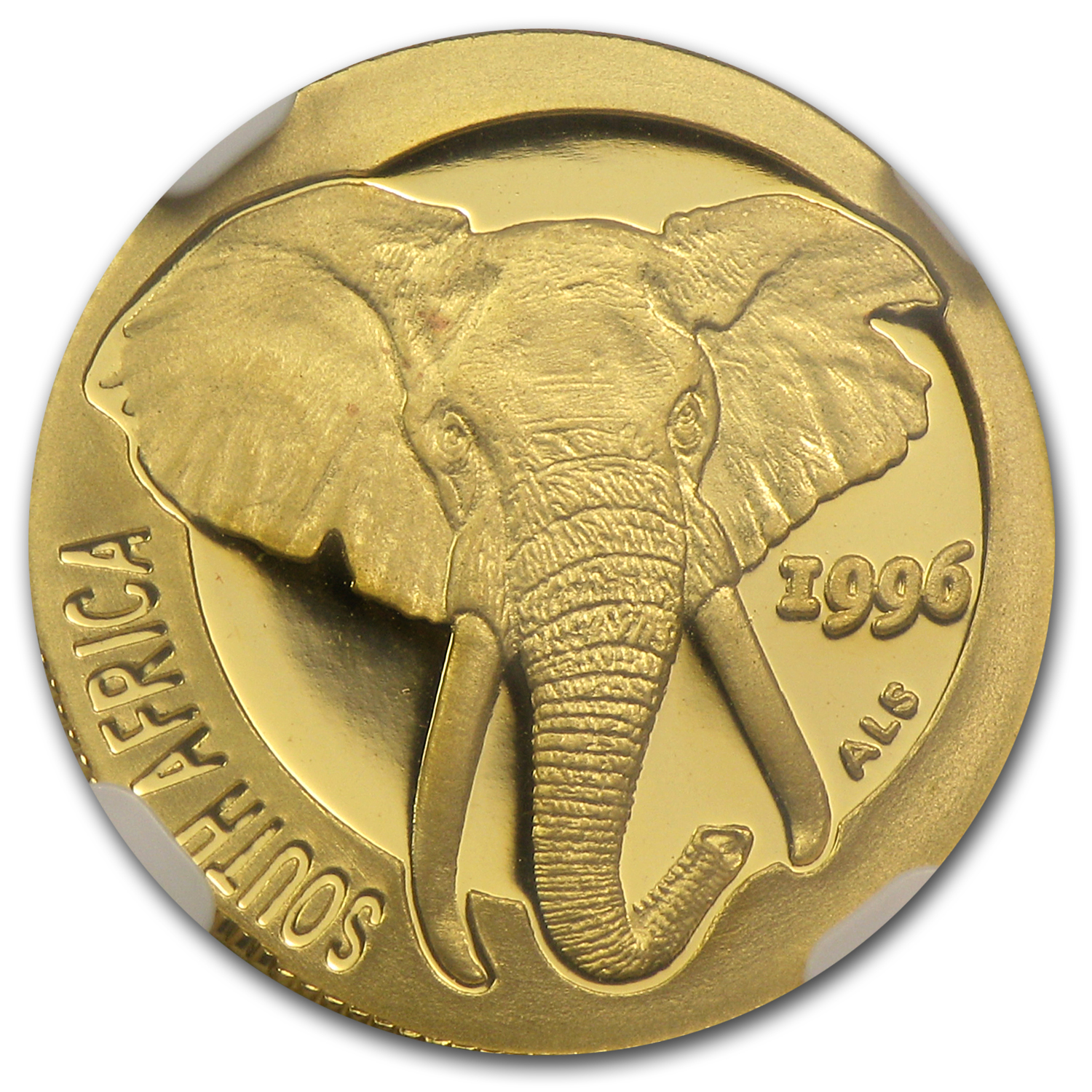 1996 South Africa 1/10 oz Gold Natura Elephant PF-69
