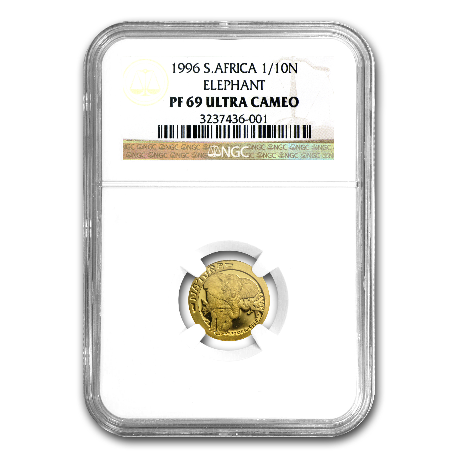 1996 South Africa 1/10 oz Gold Natura Elephant PF-69 NGC
