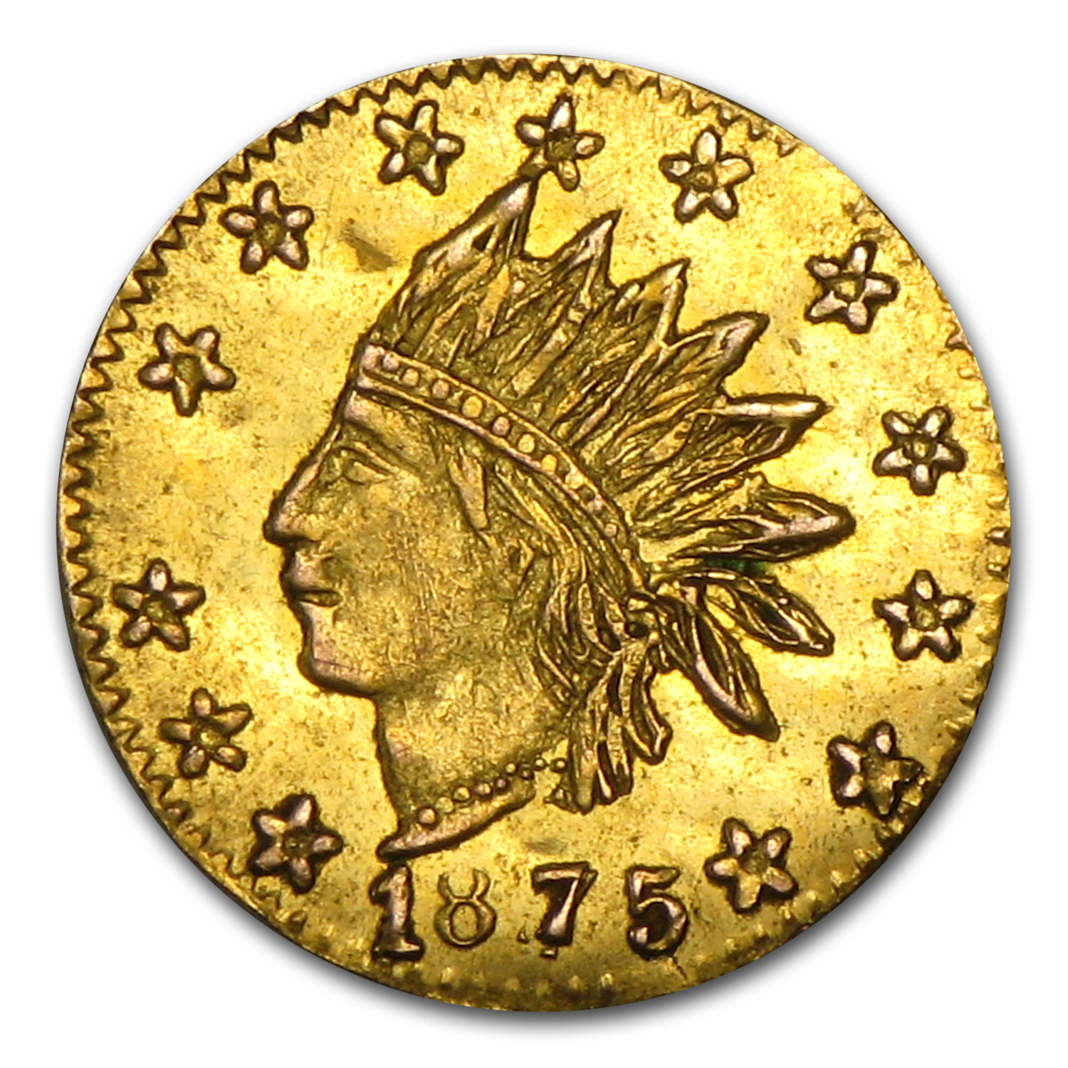 1875 BG-847 Indian Round 25 Cent Gold MS-61
