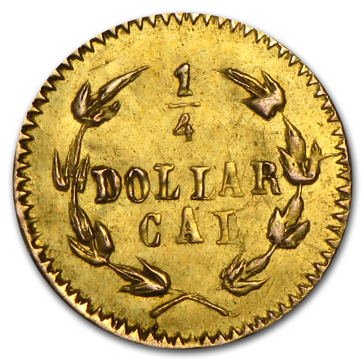 1875 Indian Round 25 Cent Gold MS-61 (BG-847)