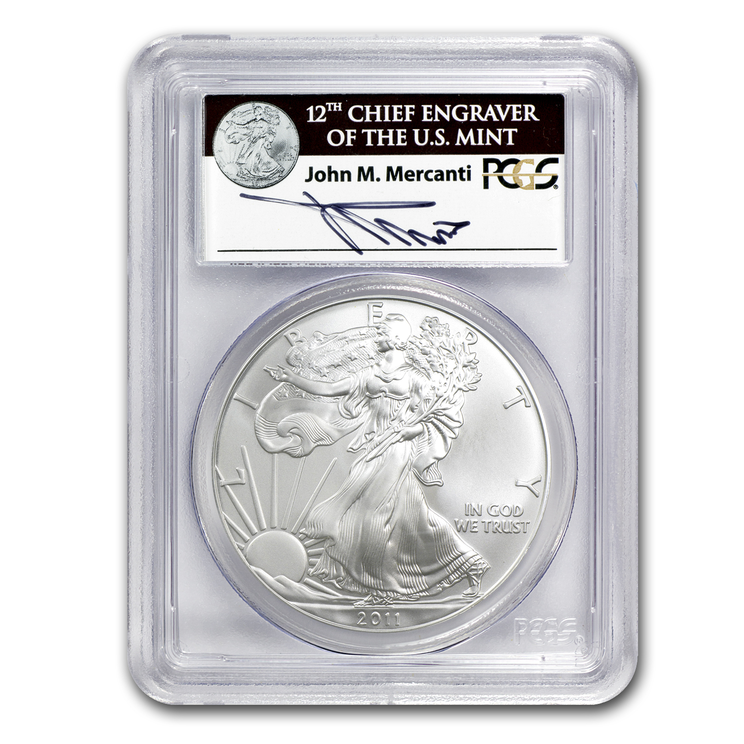 2011 Silver Eagle MS-70 PCGS (John Mercanti, 25th Anniv)