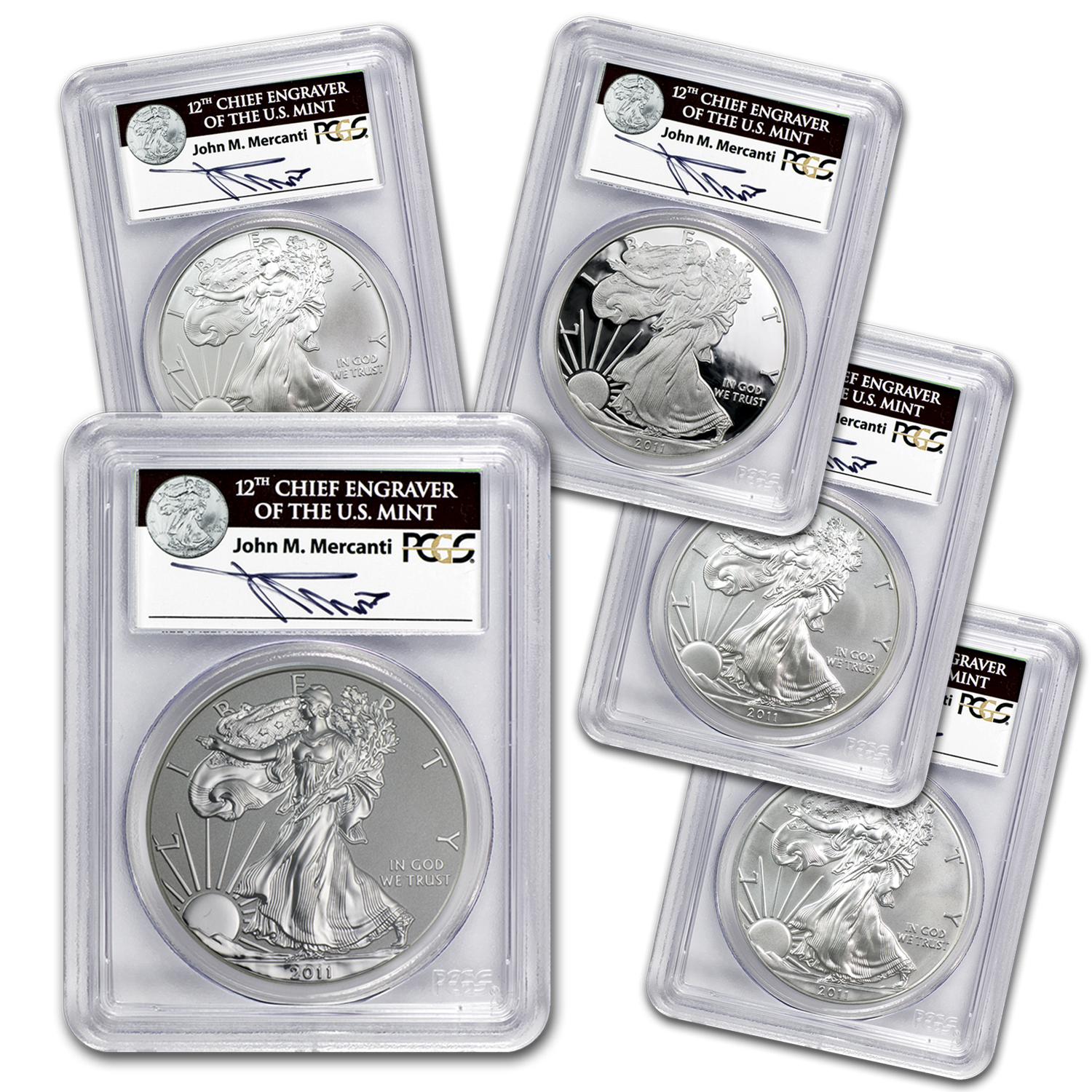 2011 5-Coin Silver Eagle Set MS/PR-69 PCGS (25th, John Mercanti)