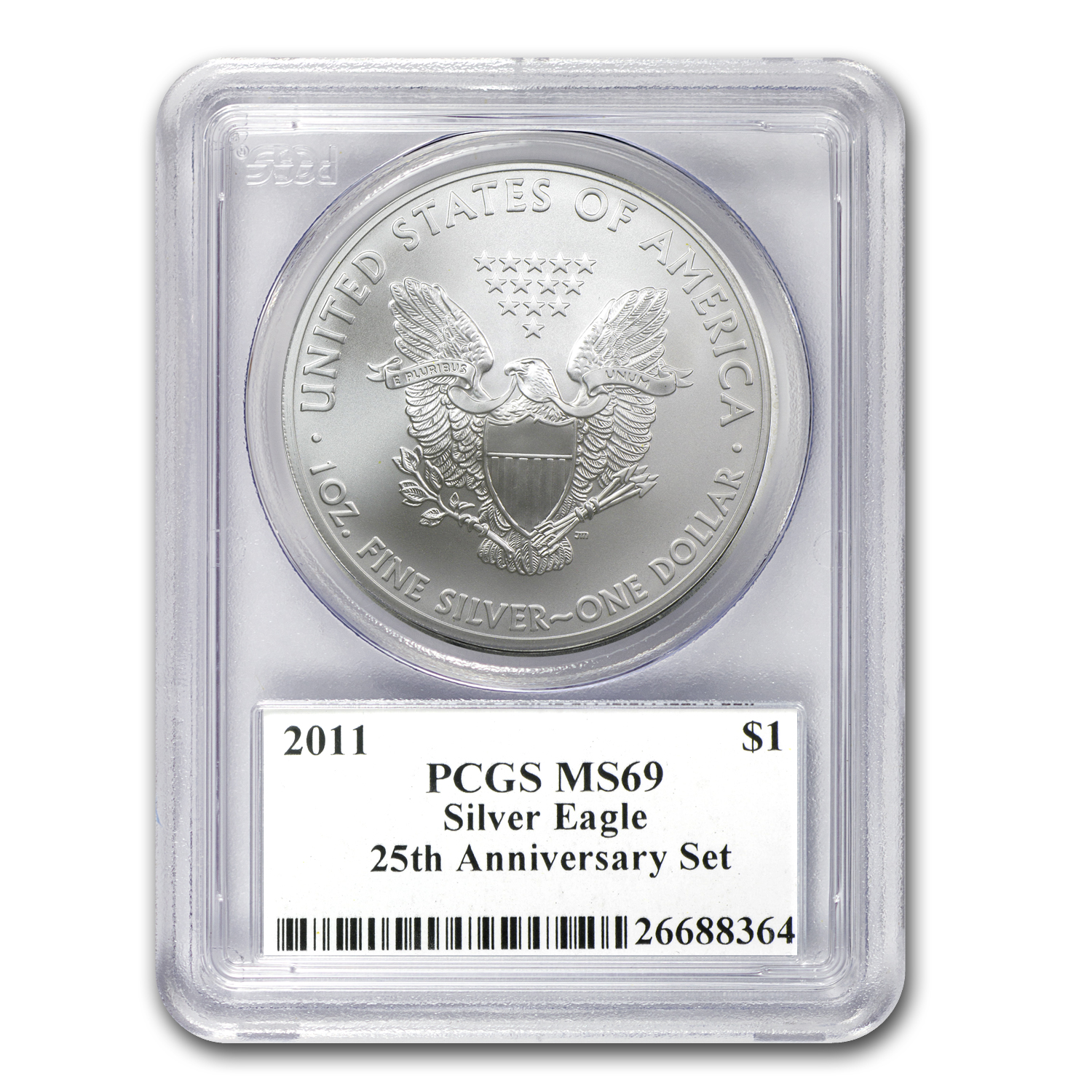 2011 Silver Eagle MS-69 PCGS (25th Anniv, John Mercanti)