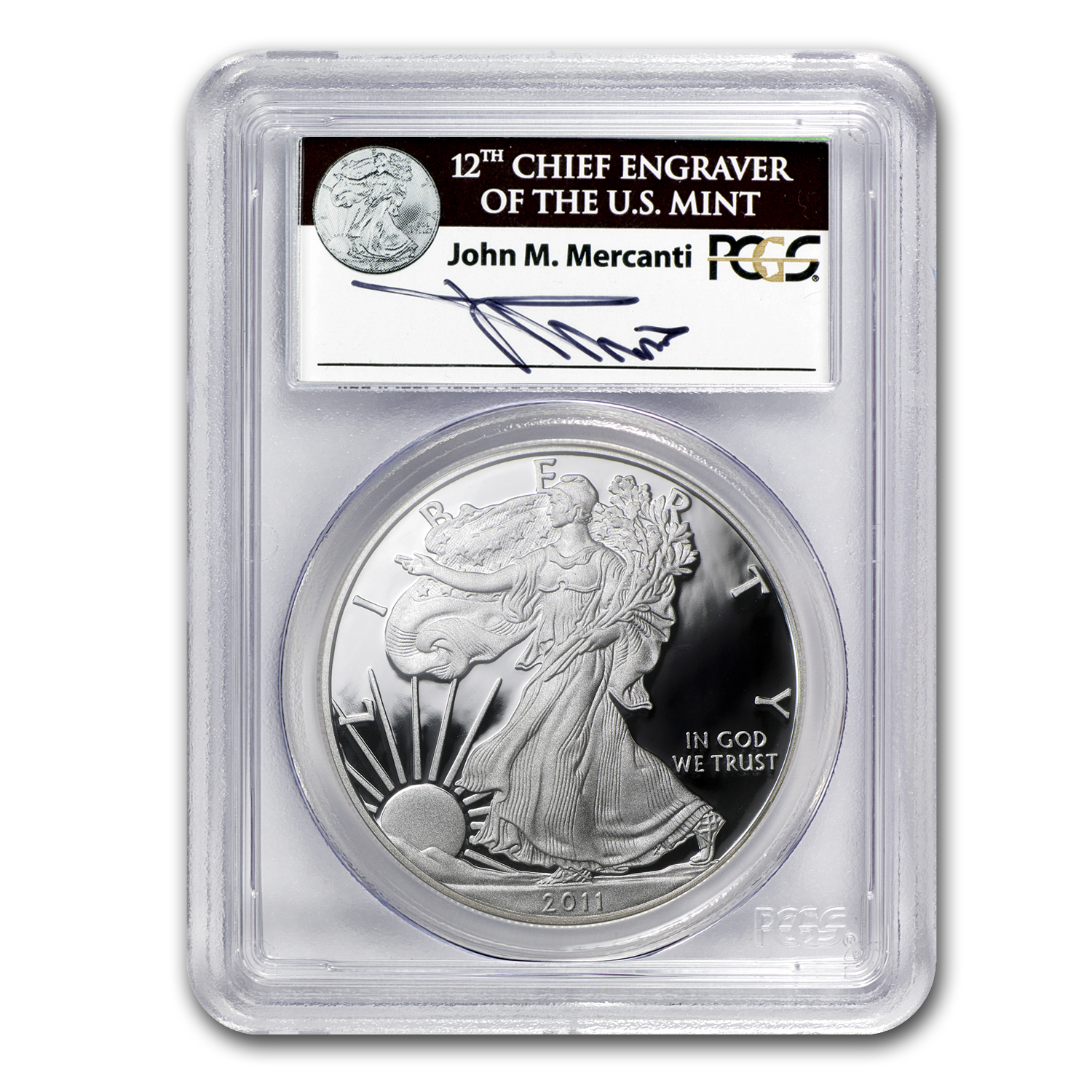 2011-W Proof Silver Eagle PR-70 PCGS (25th Anniv, John Mercanti)