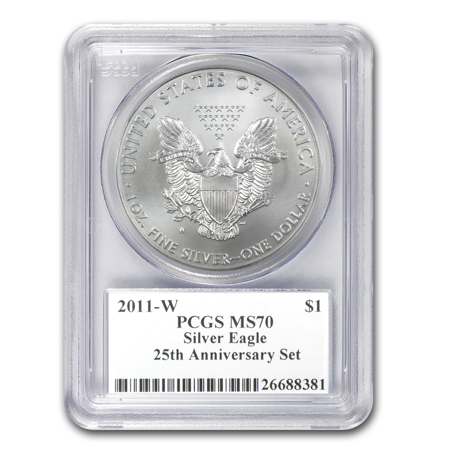 2011-W Burnished Silver Eagle MS-70 PCGS (25th Anniv, Mercanti)