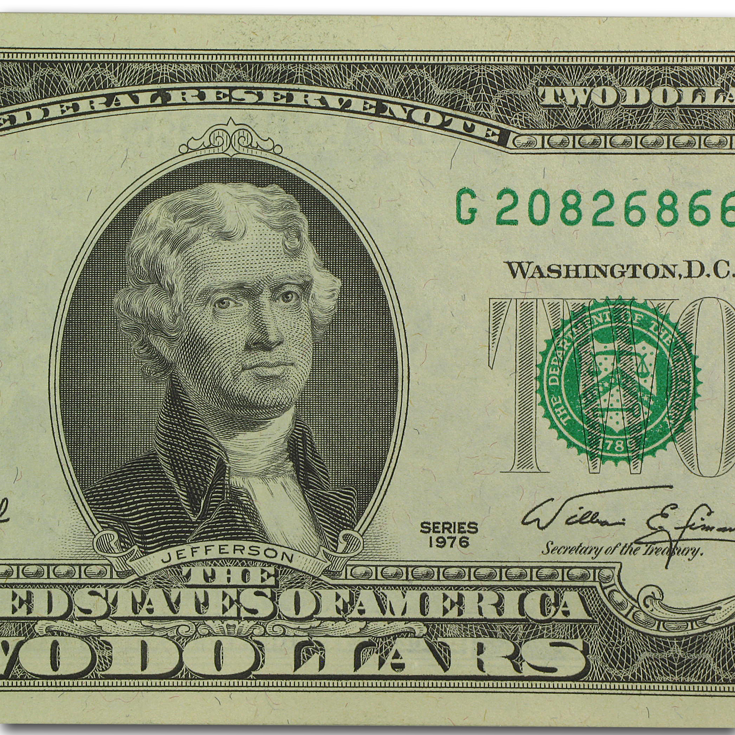 1976 (G-Chicago) $2.00 FRN  CU  5 Consecutive Notes