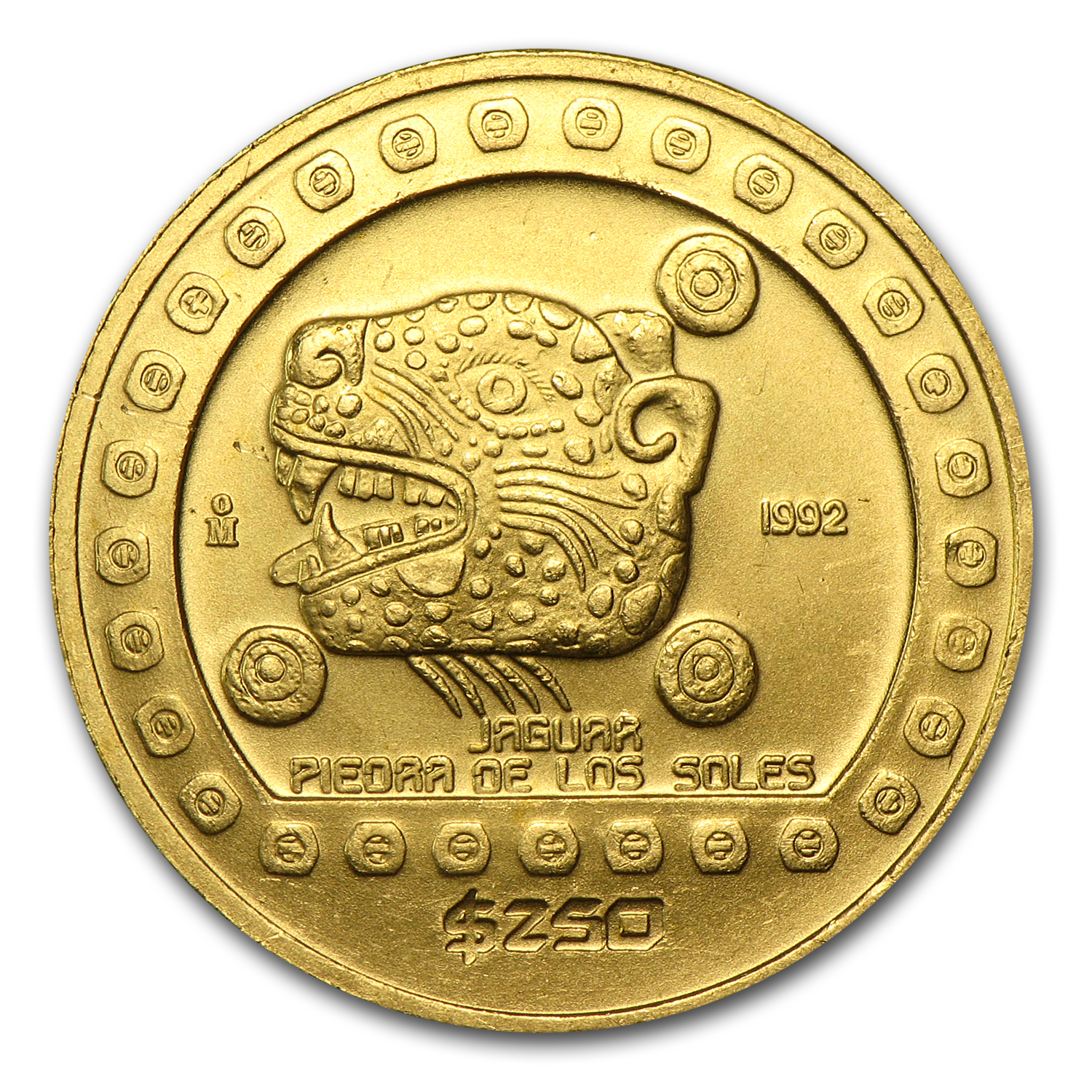 1992 Mexico 250 Pesos Gold Uncirculated Jaguar KM#558