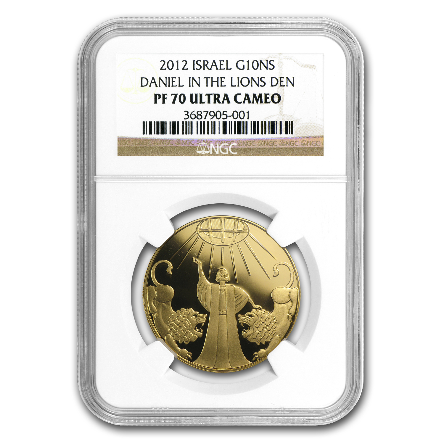2012 Israel 1/2 oz Proof Gold Daniel & Lion's Den PF-70 NGC