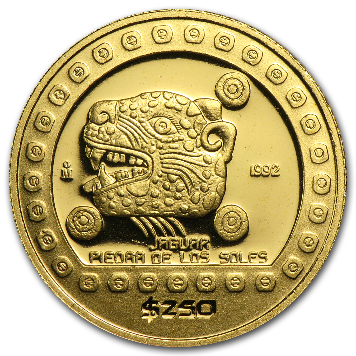 1992 Mexico Gold 250 Pesos Jaguar Proof