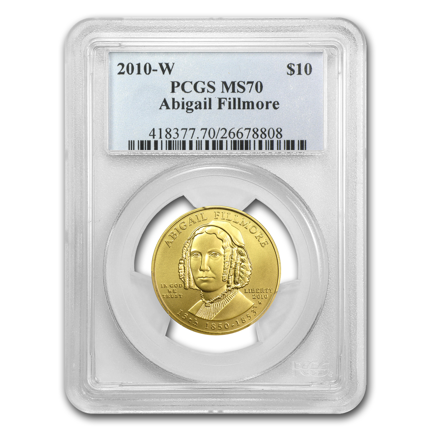 2010-W 1/2 oz Gold Abigail Fillmore MS-70 PCGS
