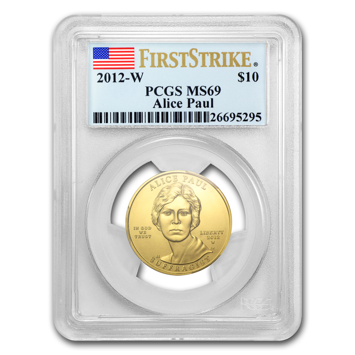 2012-W 1/2oz Uncirculated Gold Alice Paul PCGS MS-69 First Strike