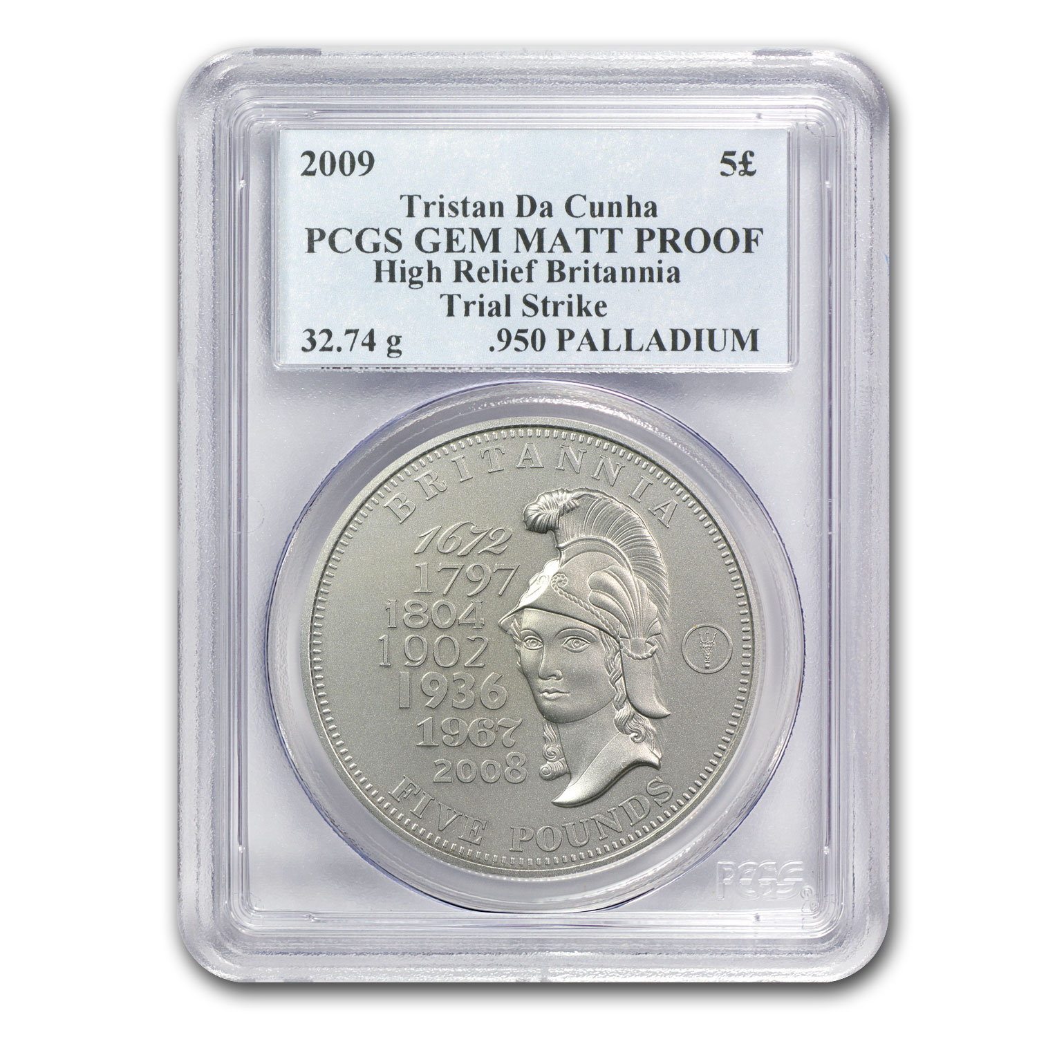 2009 Tristan Da Cunha £5 PCGS GEM MATT PROOF High Relief