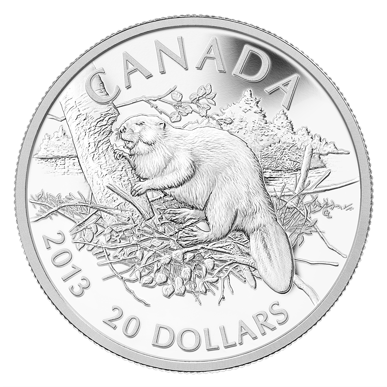 2013 1 oz Silver Canadian $20 The Beaver