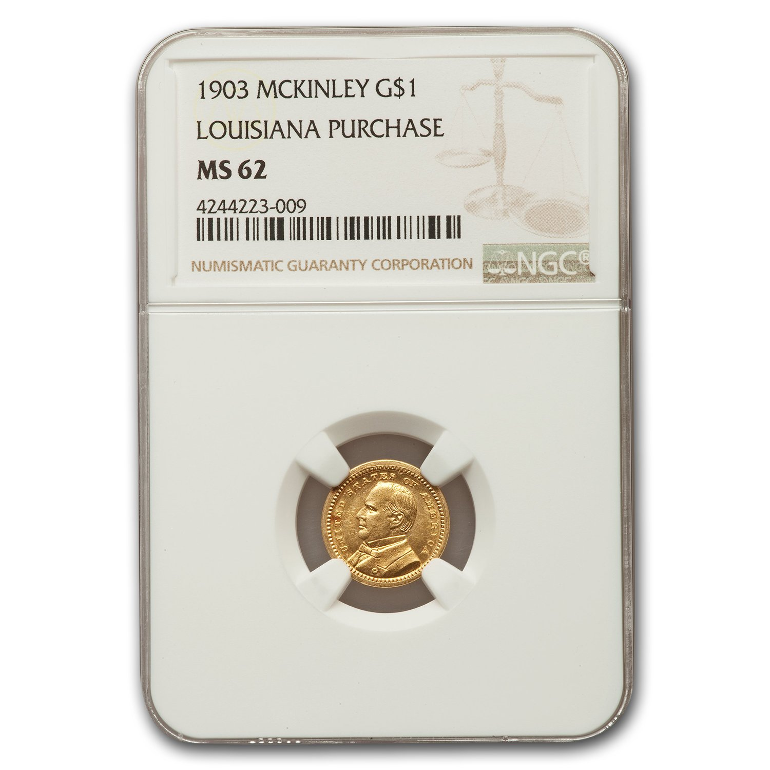 1903 Gold $1.00 Louisiana Purchase McKinley MS-62 NGC