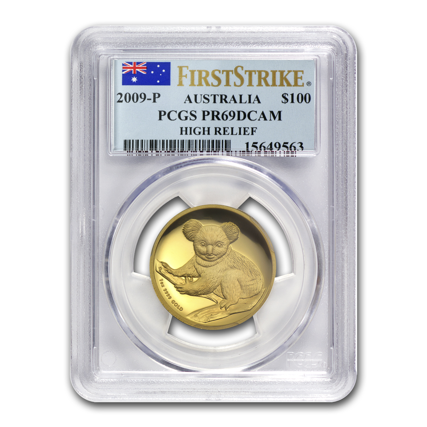 2009-P Australia 1 oz Gold Koala PR-69 PCGS (FS, High Relief)