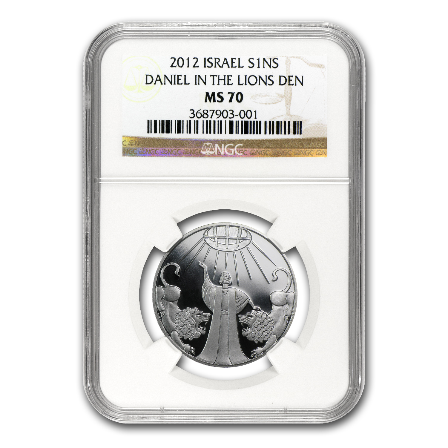 2012 Israel Silver 1 NIS Daniel in the Lion's Den MS-70 NGC