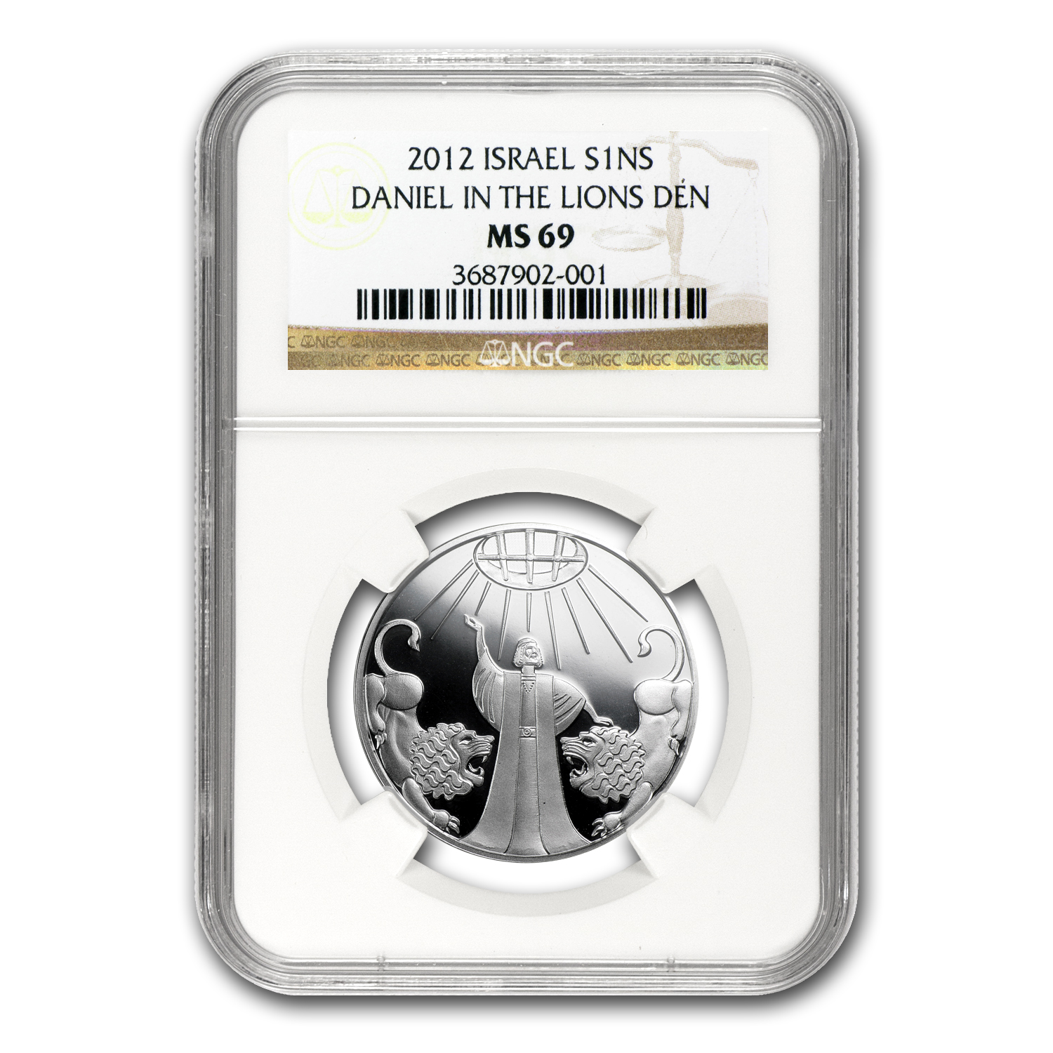 2012 Israel Silver 1 NIS Daniel in the Lion's Den MS-69 NGC