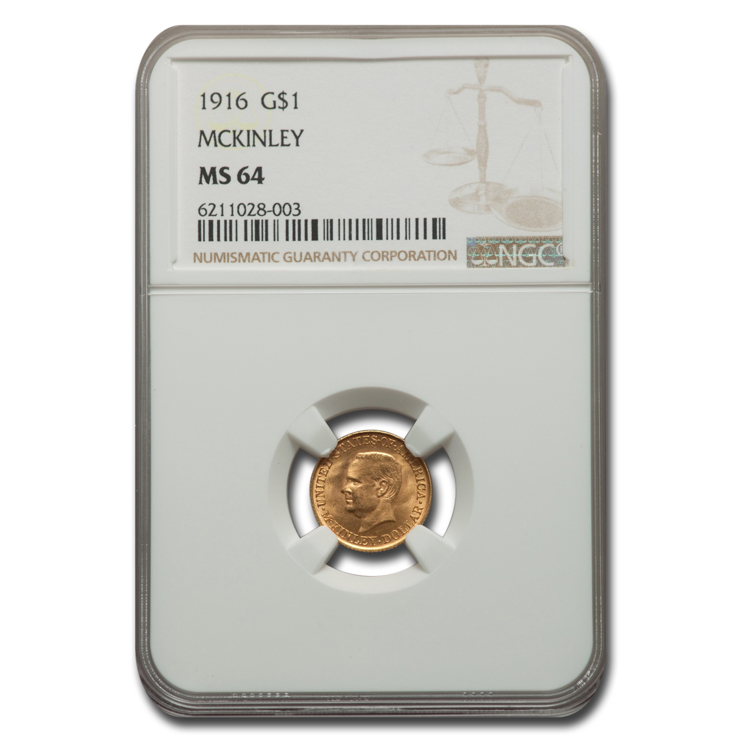 1916 Gold $1.00 McKinley MS-64 NGC