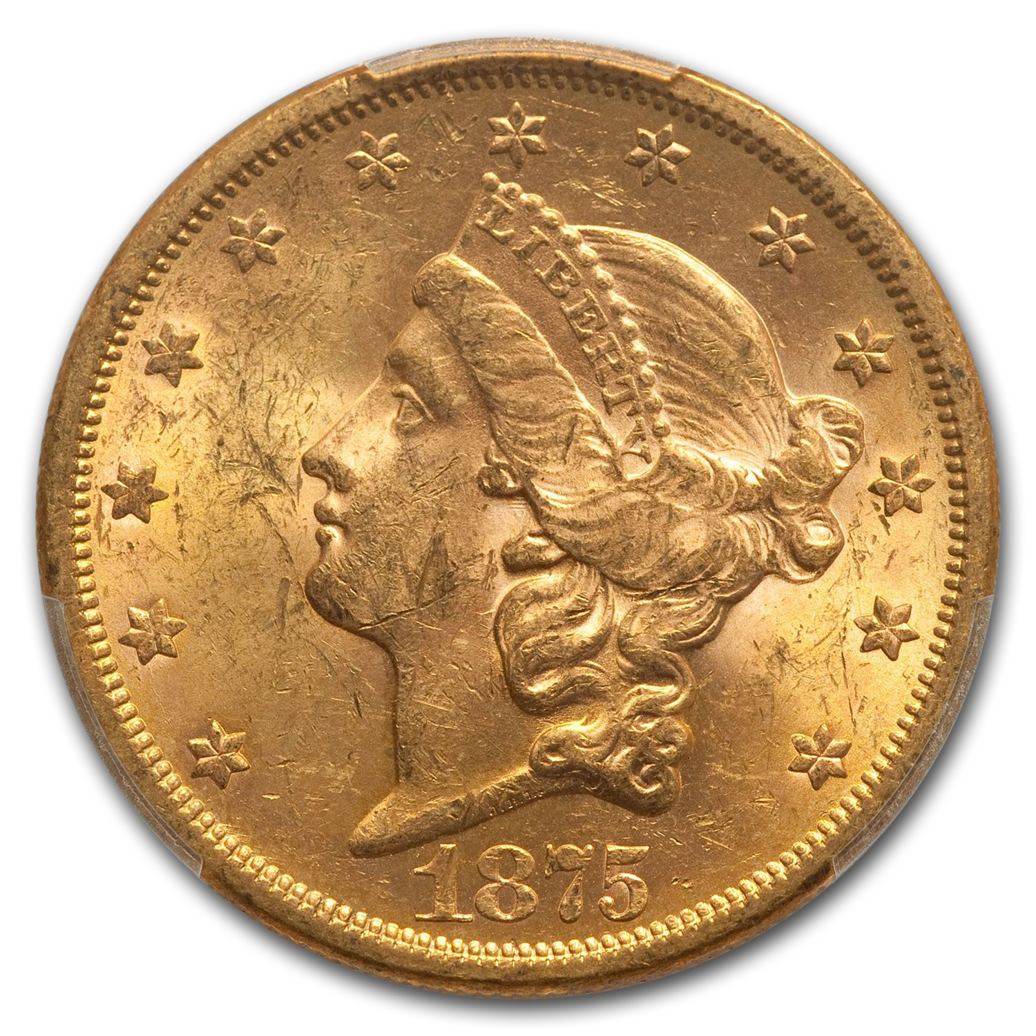 1875-S $20 Liberty Gold Double Eagle MS-61 PCGS