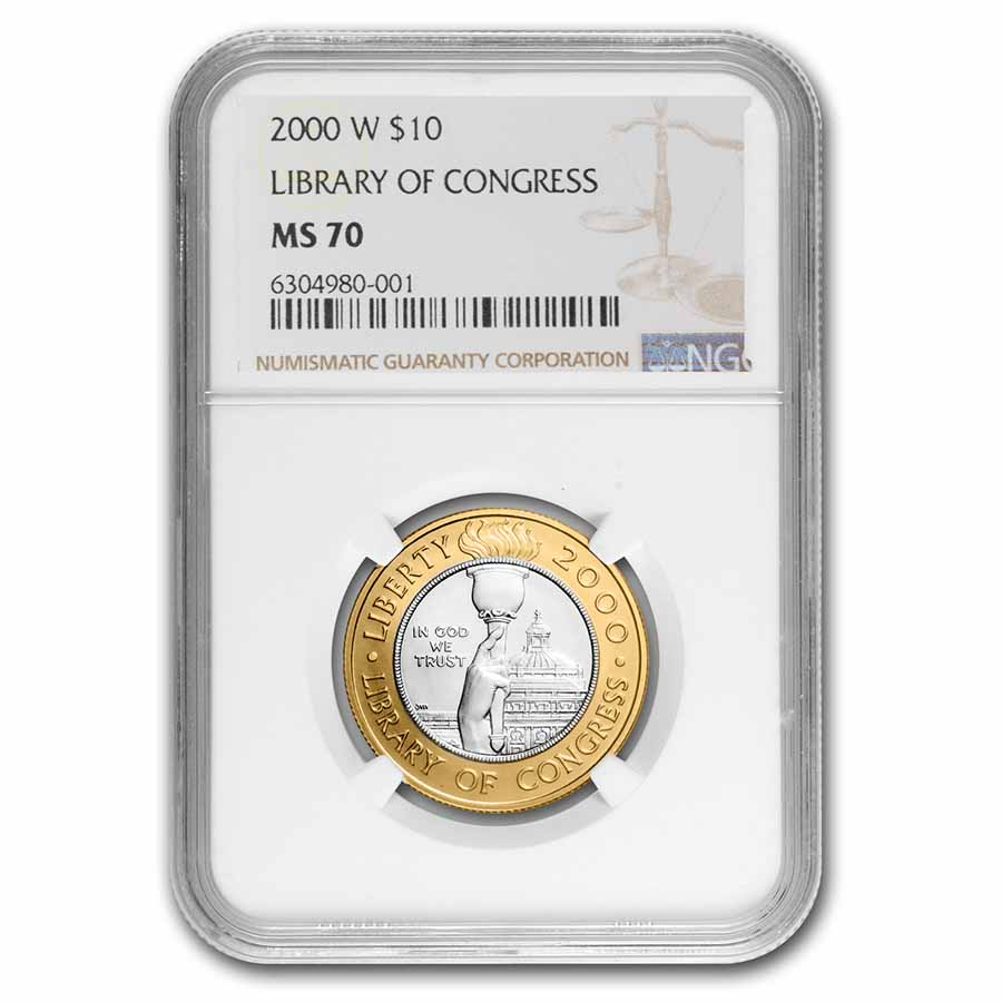 2000-W Gold/Platinum $10 Commem Library of Congress MS-70 NGC
