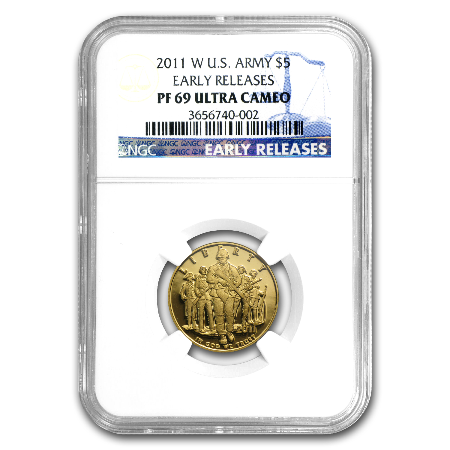 2011-W Gold $5 Commem Army PF-69 NGC (ER)