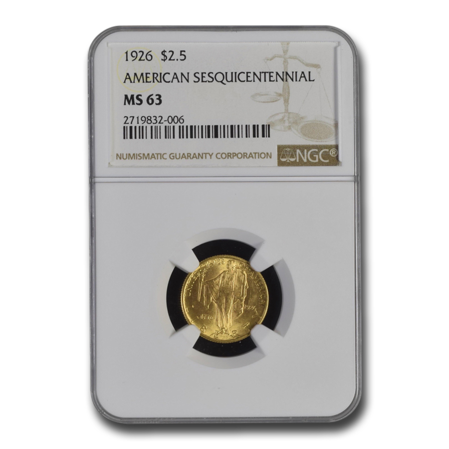 1926 Gold $2.50 America Sesquicentennial MS-63 NGC