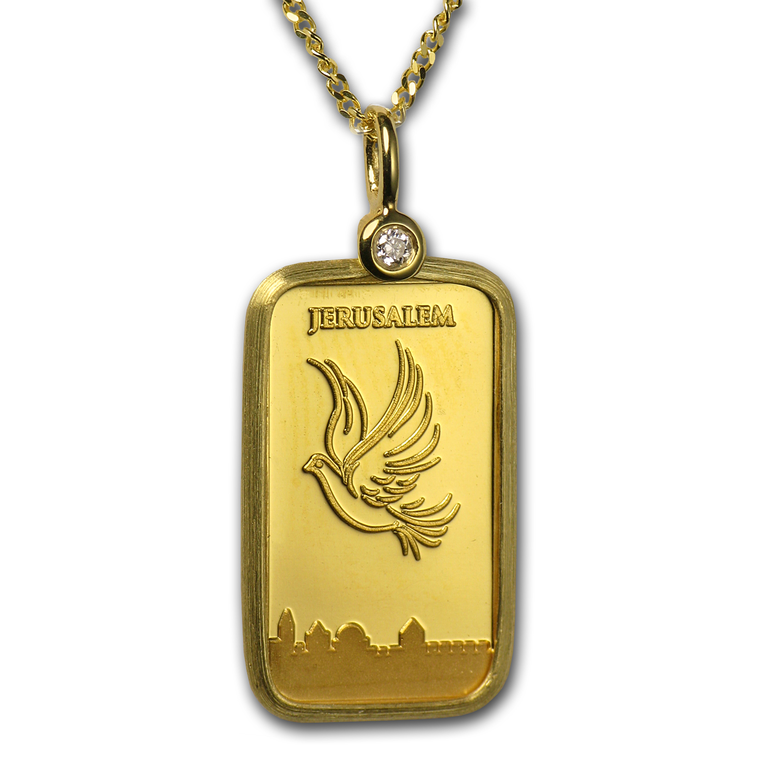 1 Gram Gold Bar Dove of Peace Necklace w/Diamond (AGW .05417 oz)