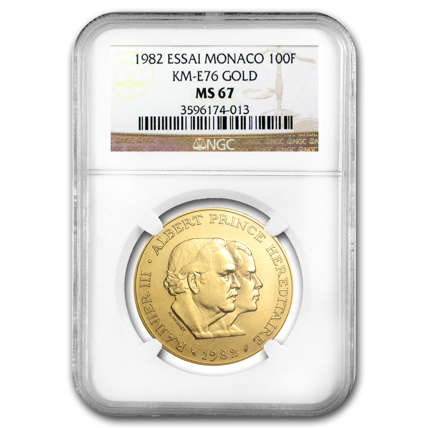 1982 Monaco Gold 100 Francs Princes MS-67 NGC