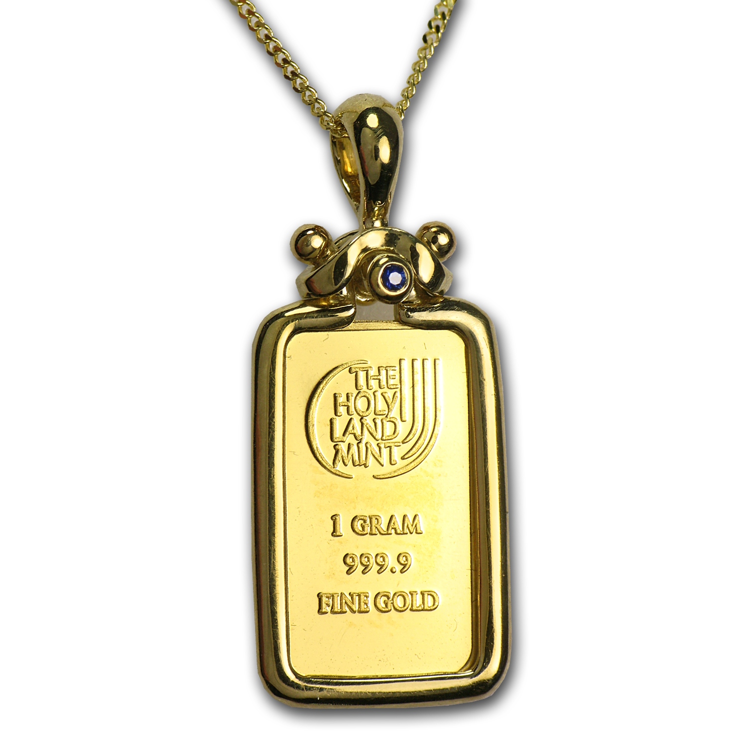 1 Gram Gold Bar Dove of Peace Necklace (AGW .0939 oz)