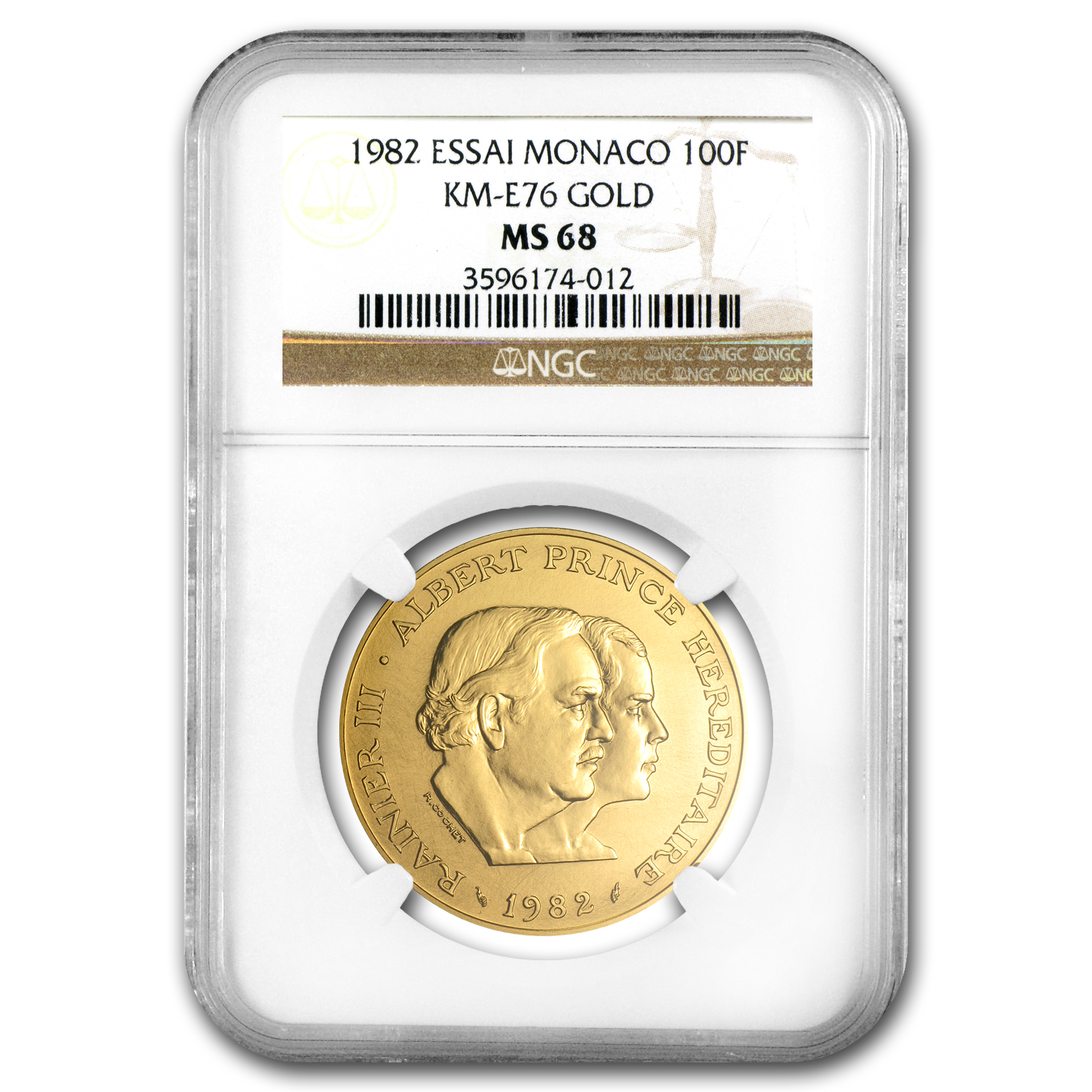 1982 Monaco Gold 100 Francs Princes MS-68 NGC