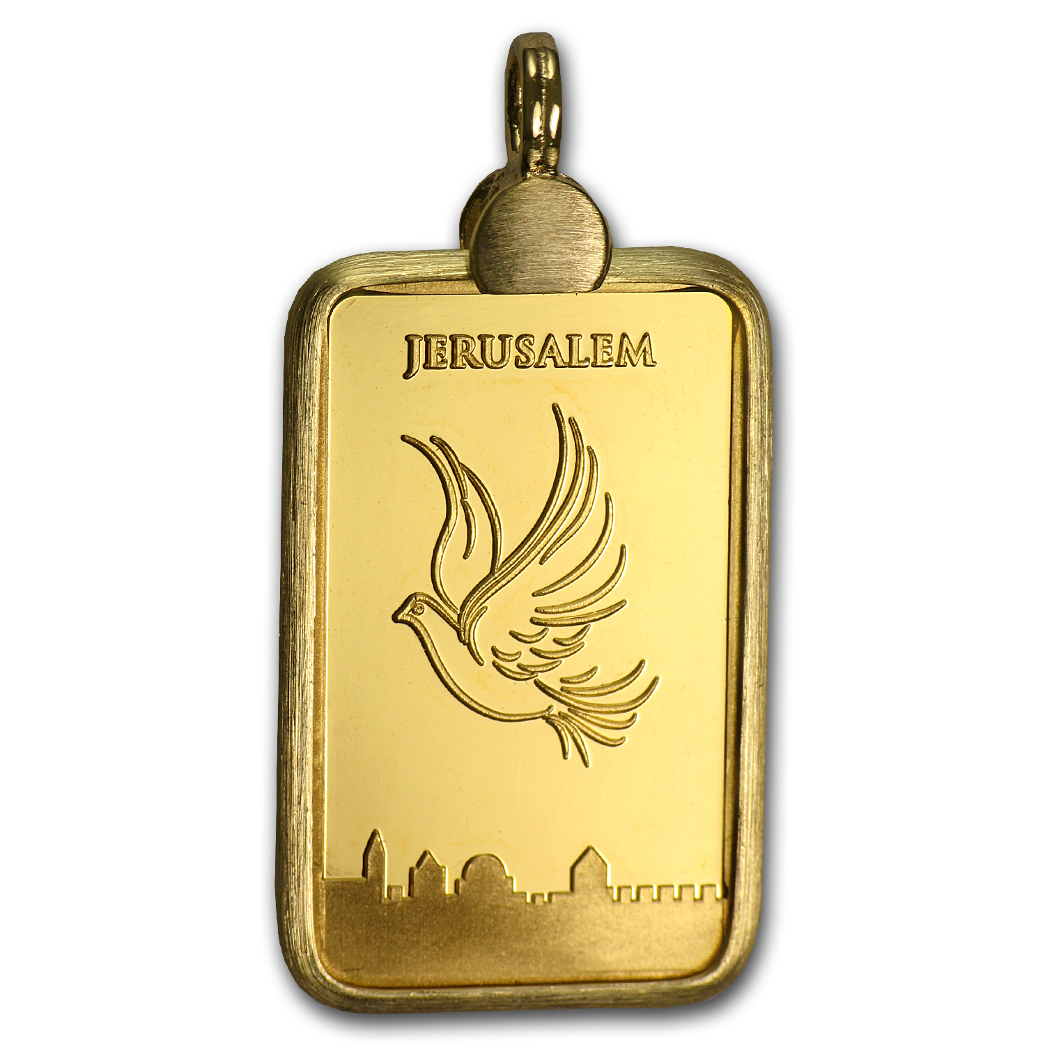 5 Gram Gold Bar Dove of Peace Pendant (AGW .1607 oz)