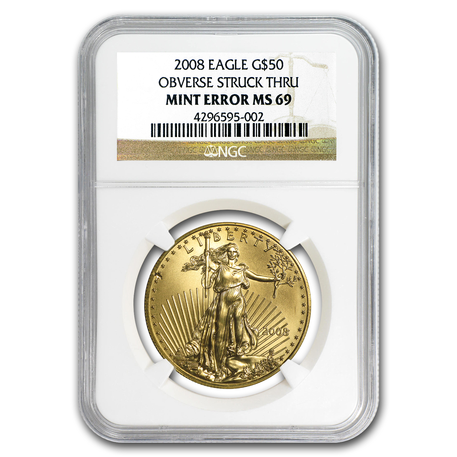 2008 1 oz Gold American Eagle Mint Error NGC MS-69