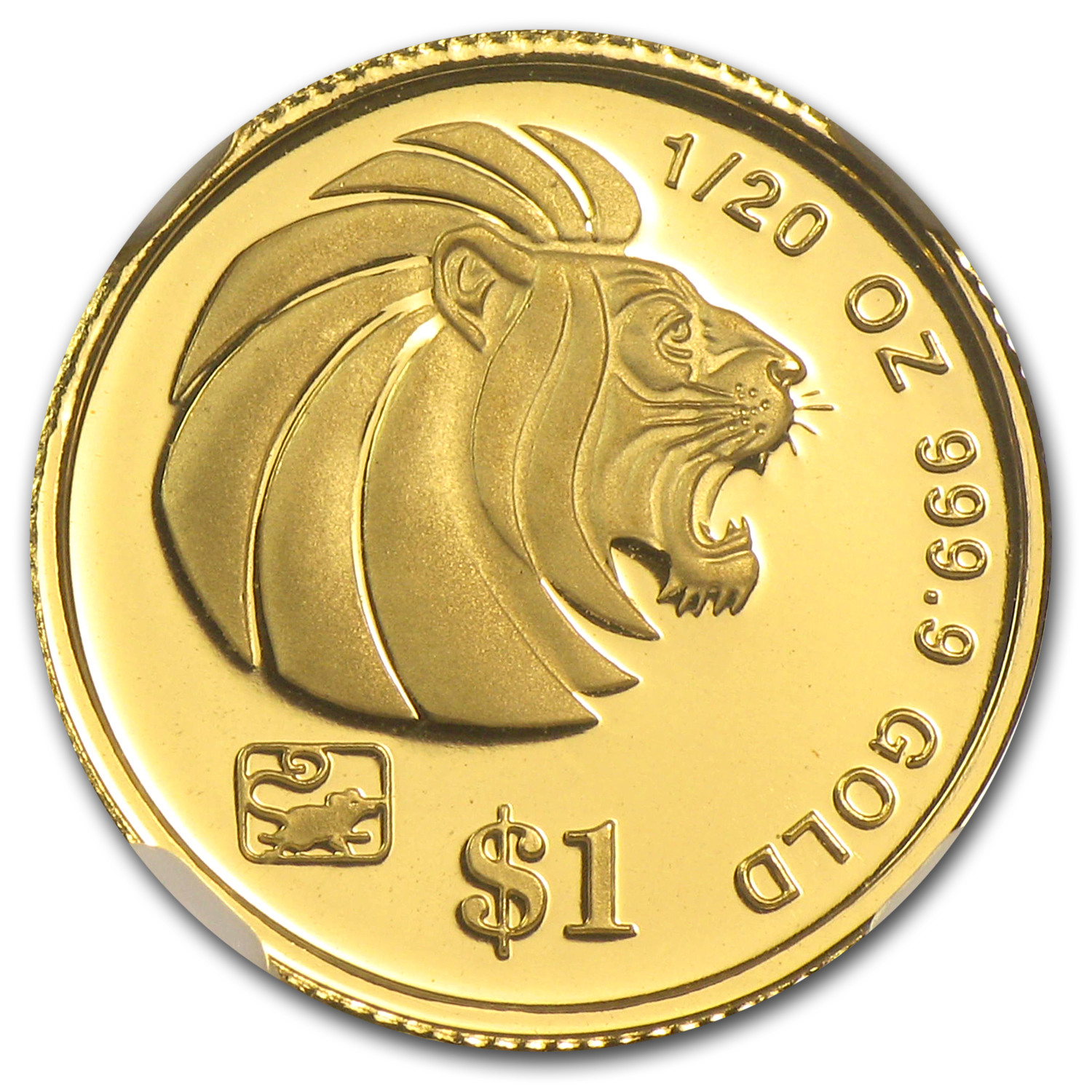 Singapore 1996 - Rat $1 1/20th Oz Gold Coin NGC PF-70UC