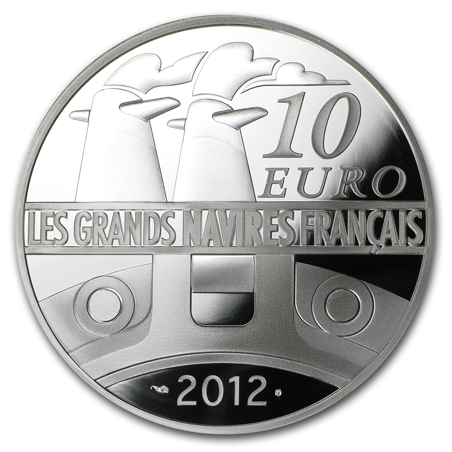 2012 €10 Silver Proof Great French Ships - The France