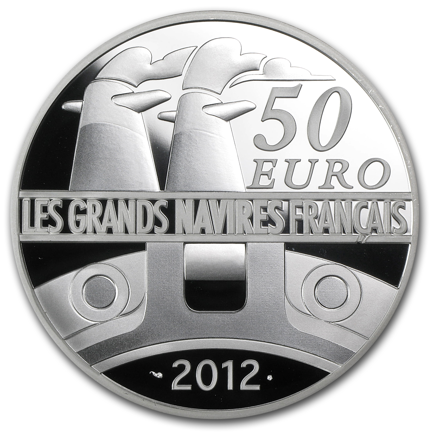2012 €50 5 oz Silver Proof Great French Ships - The France