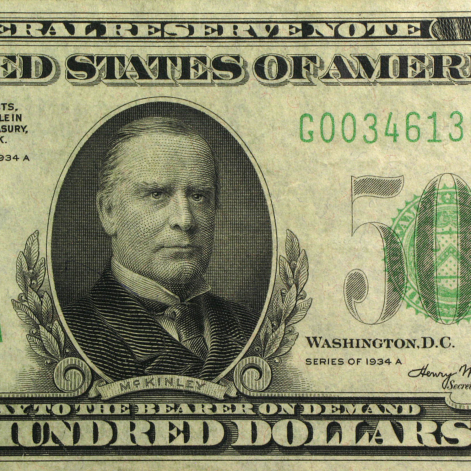 1934-A (G-Chicago) $500 FRN XF-40 PCGS