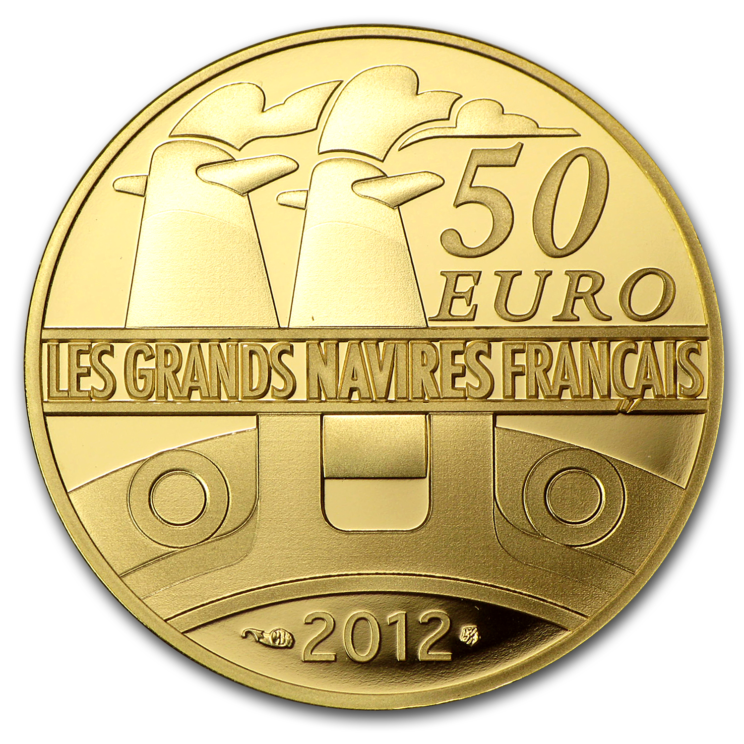 2012 1/4 oz Proof Gold €50 Great French Ships The France