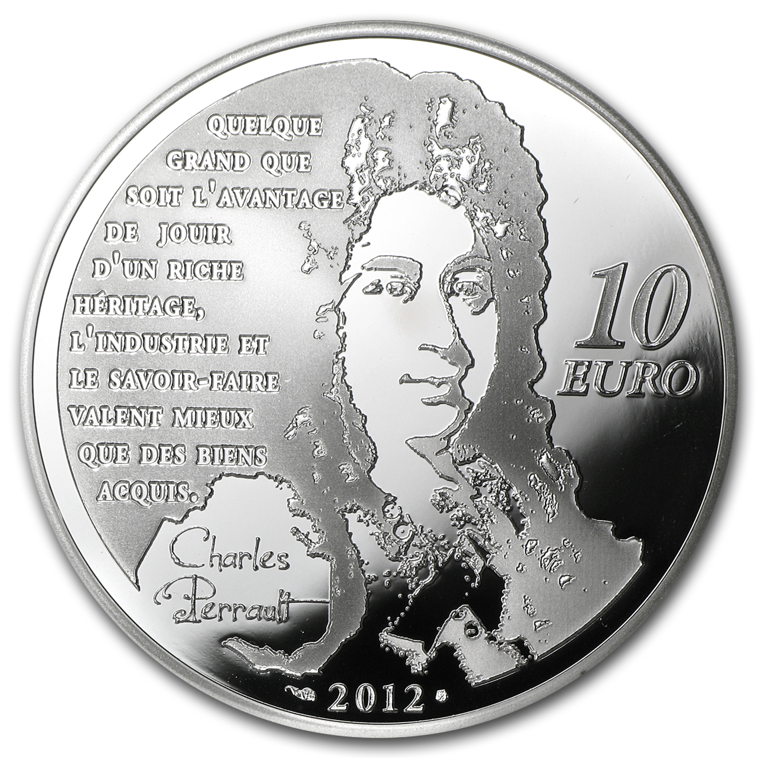 2012 €10 Silver Heroes of French Literature Proof (Puss in Boots)