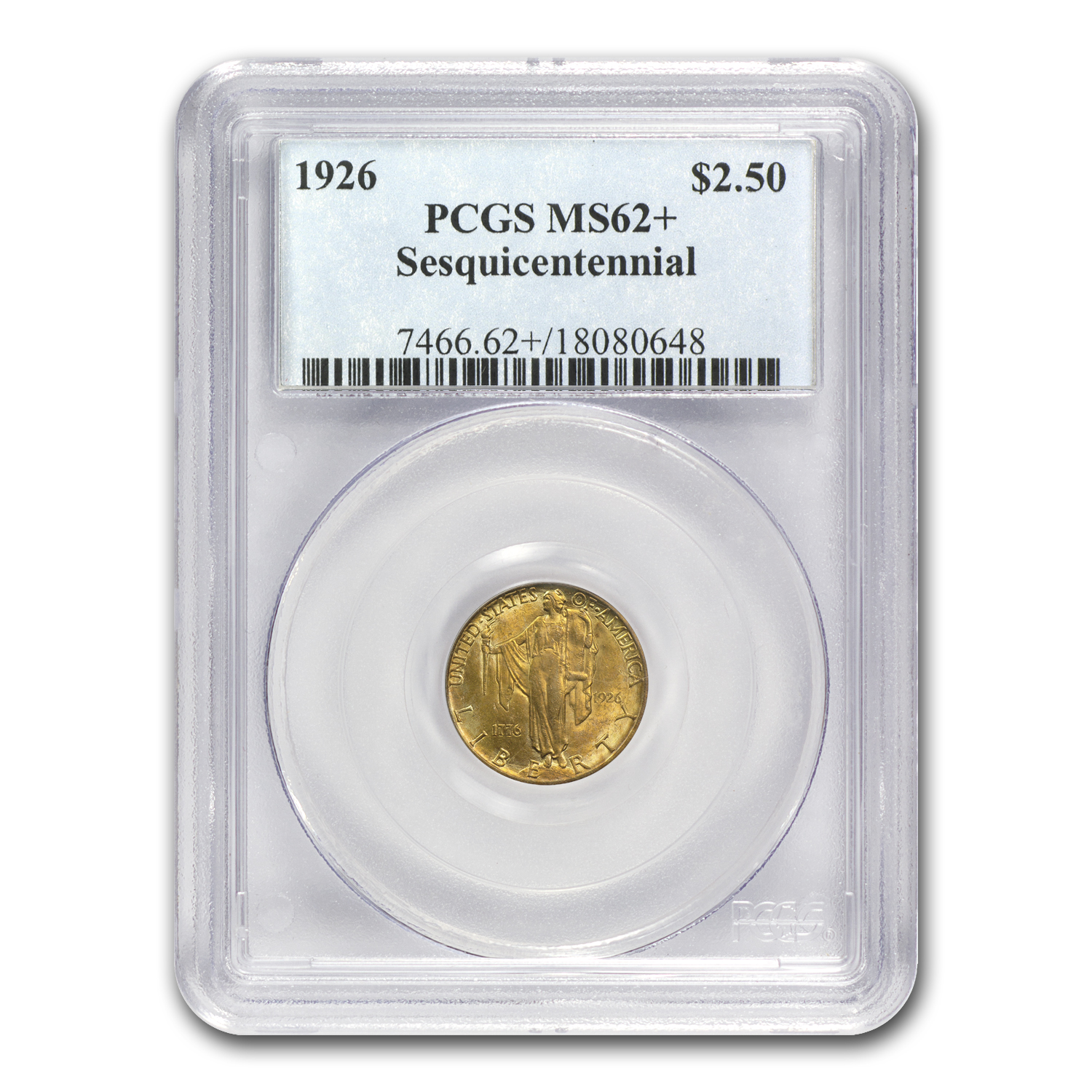 1926 Gold $2.50 America Sesquicentennial MS-62+ PCGS