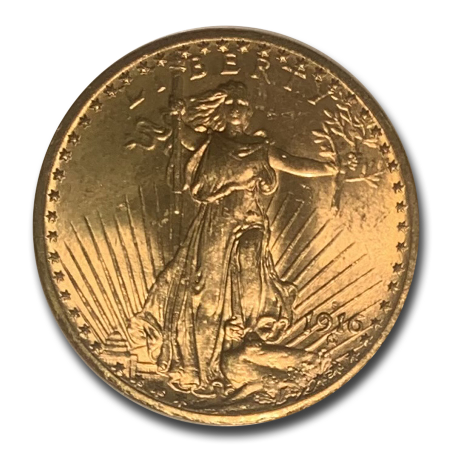 1916-S $20 St. Gaudens Gold Double Eagle - MS-64 NGC
