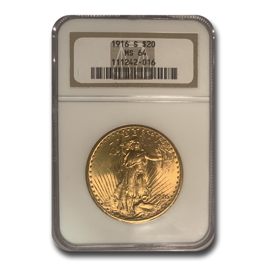 1916-S $20 St. Gaudens Gold Double Eagle MS-64 NGC