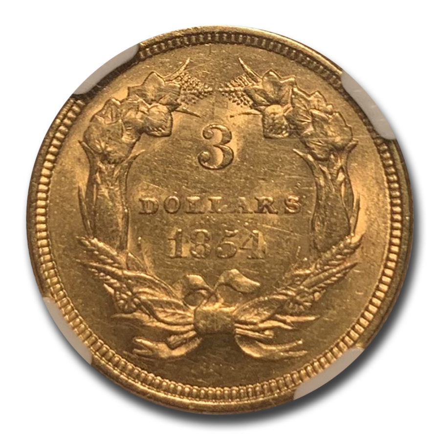 1854 $3 Gold Princess - AU-53 NGC